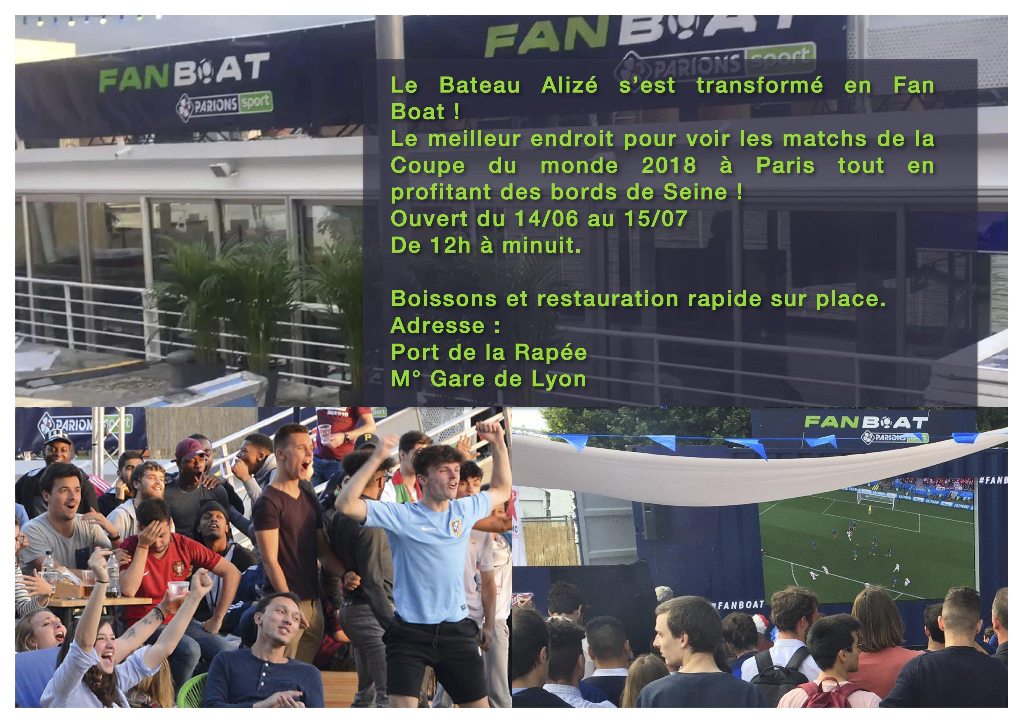 Le Fan boat de la coupe du monde à bord de l'Alizé